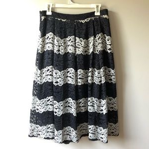 Who What Wear Lace Midi Skirt Black & White